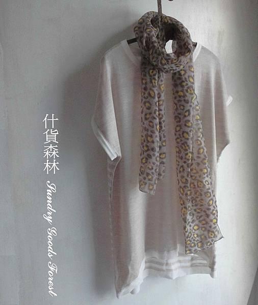 什貨森林 自然風格 韓製 針織棉搭花巾織 T 米色
