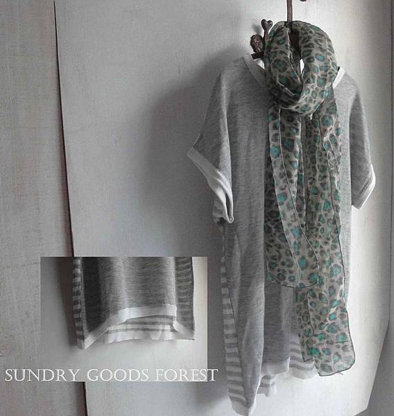什貨森林 自然風格 韓製 針織棉搭花巾織 T 灰色