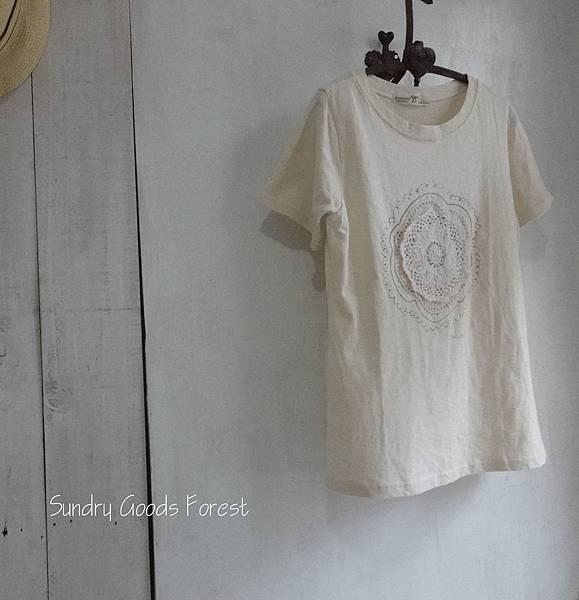什貨森林 自然 田園 鄉村風格 韓貨 百麗蕾絲貼花棉T