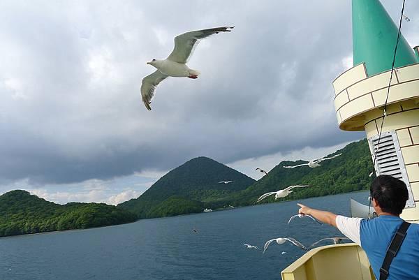 前面的人用蝦味先餵海鷗