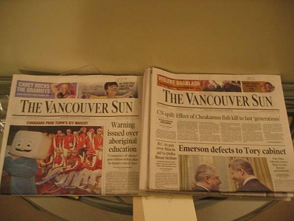 每天房門口都有的報紙-THE VANCOUVER SUN