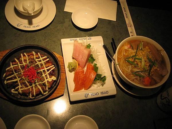 上菜囉!!大阪燒--生魚片--味增拉麵