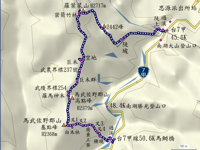 a01羅馬縱走路線圖