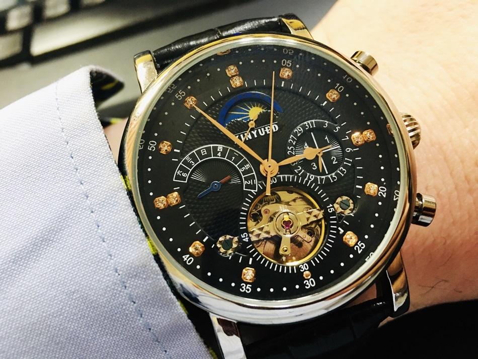 精品手錶推薦Gorgeous 捷獅腕錶KINYUED國王錶真皮鑲鑽星辰錶男錶加硬玻璃真三眼陀飛輪自動機械錶生日情人節禮物最佳送禮