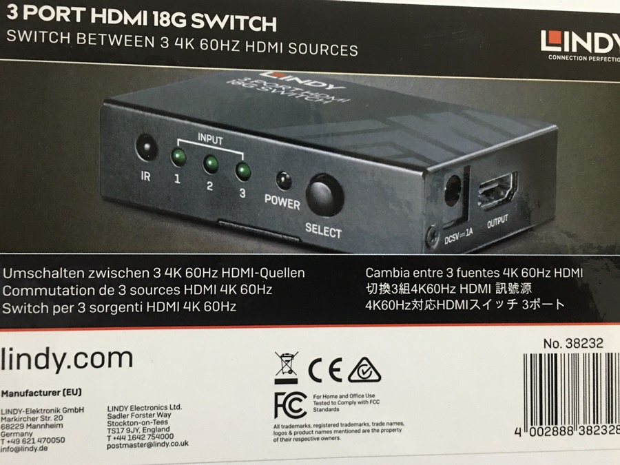 HDMI切換器推薦德國LINDY林帝HDMI 2.0 4K 18G-3進1出切換器解決HDMI Port不夠用4K高畫質HDMI輸出,可遙控切換HDMI訊號