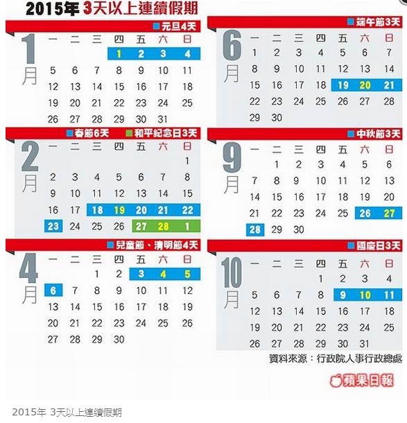 2015年3天以上連續假期