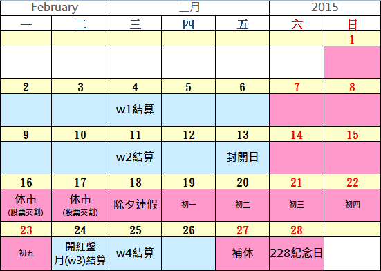 2015 二月 行事曆