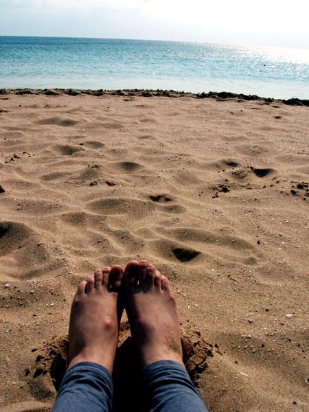 我的足跡 at  冬天的墾丁南灣。