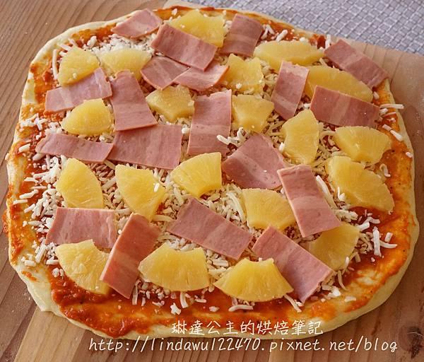 石板披薩--夏威夷烘烤前