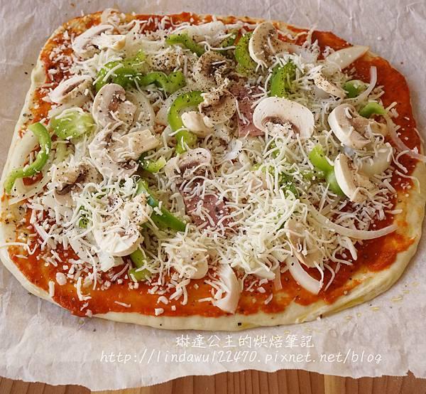 石板披薩--夏威夷烘烤前放parchment紙