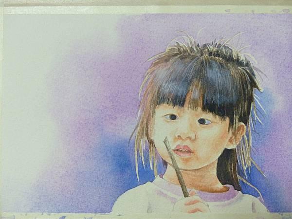 這是適合我的魔杖麼?(可愛的小外甥女的畫像) 水彩畫 Arches 水彩紙 19cmx13cm