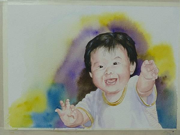 媽咪抱抱!女兒八個月大的畫像 水彩畫 Arches 水彩紙 26cmx18cm