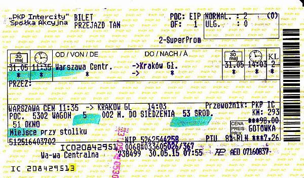 Ticket-0531華沙往克拉可夫