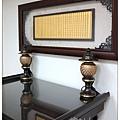 公司佛堂設計,全實木禪風如意呈祥神桌,配上金箔黃金心經