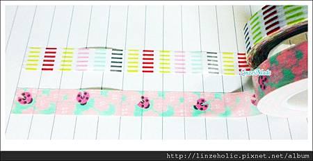 金音2012夏季限定紙膠帶_彩色橫紋、瓢蟲與花