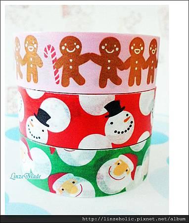 金音2012聖誕款紙膠帶_綠底聖誕老人、紅底雪人、粉底薑餅人02