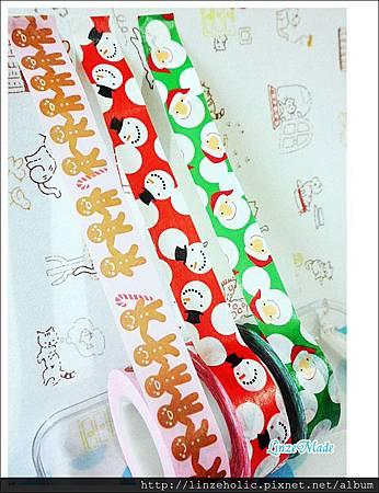 金音2012聖誕款紙膠帶_綠底聖誕老人、紅底雪人、粉底薑餅人03