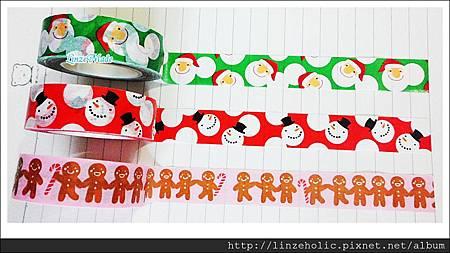 金音2012聖誕款紙膠帶_綠底聖誕老人、紅底雪人、粉底薑餅人04
