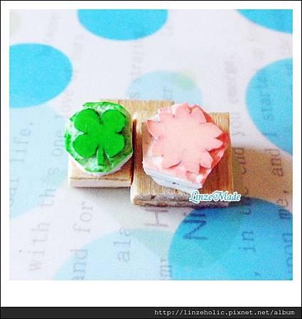 Linze手刻章 四葉草+櫻花