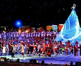 總統夫人周美青帶領表演者為台灣祈福。