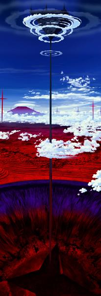 EVANGELION_Q_cut0812B_巨大な裂け目からそびえる塔の先の新ネルフ本部 (1)