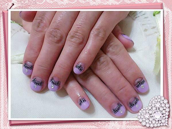 紫色馬卡龍黑蕾絲