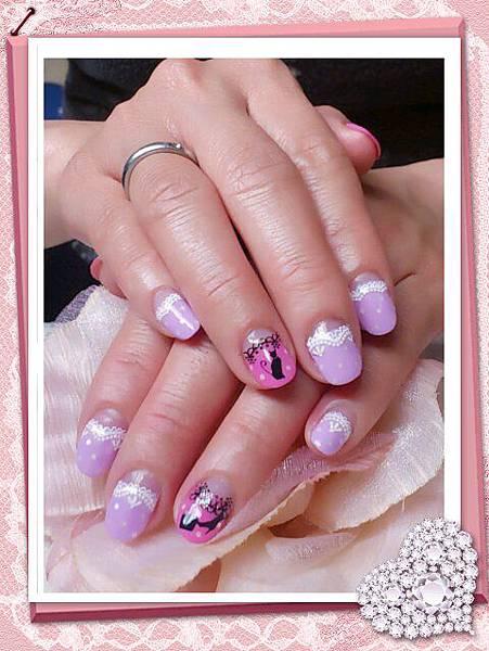 紫色馬卡龍+白蕾絲+貓咪