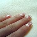 淡粉紅璀璨水晶練習-左手