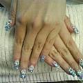 藍色夾心水晶+粉雕