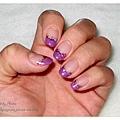 神秘紫法式凝膠指甲
