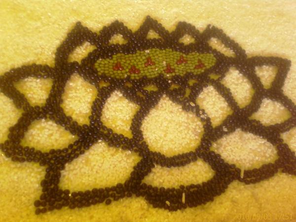 豆及米作的拼畫