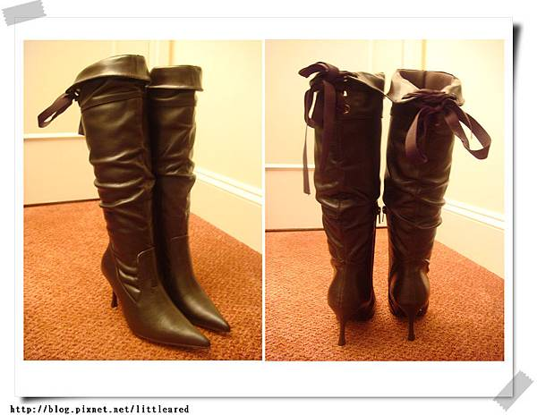 咖啡色後綁帶長靴