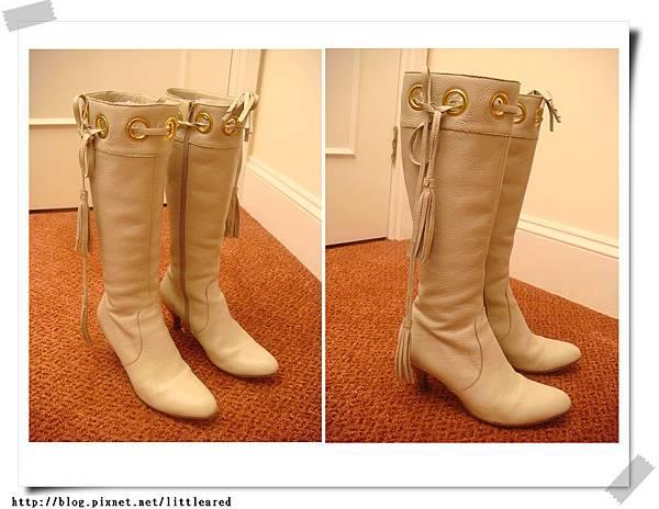 日本金環側綁帶米白靴
