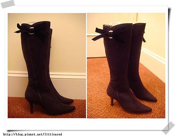 黑色絨布蝴蝶結靴