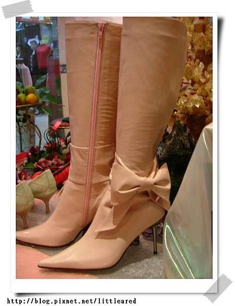 手工粉色蝴蝶結靴