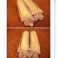 粉紅蝴蝶結緞帶低跟拖鞋