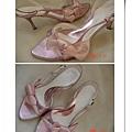 粉緞霧金高跟涼鞋