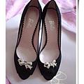 黑色水鑽蝴蝶結高跟鞋