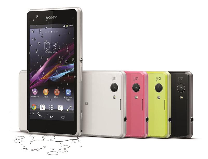圖1_Sony Moble推出世界首款輕旗艦防水智慧手機Xperia Z1 Compact,共有白、黑、粉桃紅、檸檬黃四色。