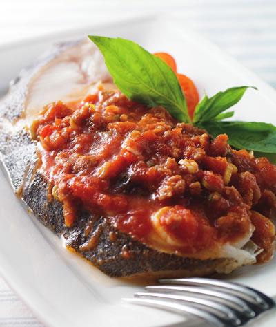 蕃茄肉醬蒸鱈魚