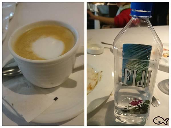 焱鐵板燒的FIJI水及熱咖啡
