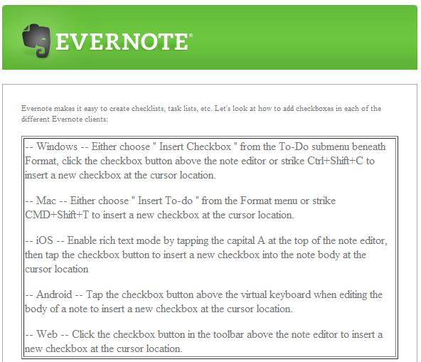 evernote insert checkbox