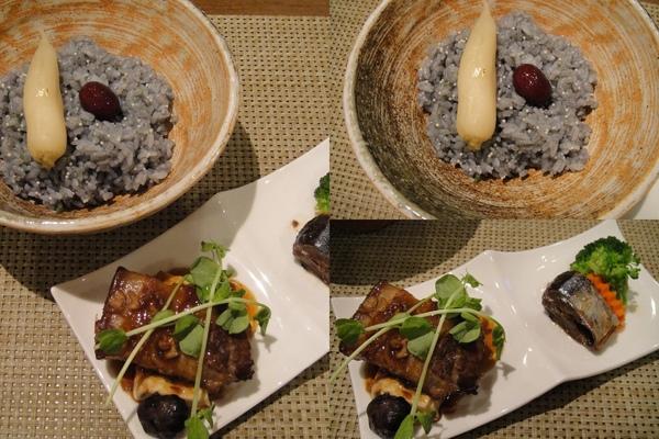 竹炭礦工飯、魯三層肉、醋漬秋刀魚