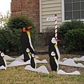 看這位鄰居大叔乾脆跳過感恩節,直接做聖誕節布置,北極企鵝都來了.