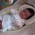 洗過澡,小睡半晌,睡在搖籃裡的小寶寶.