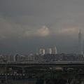 從圓山的基隆河畔遠眺一0一大樓,巍峨高樓聳立在雲霧縹緲間.