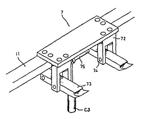 泛用型蔬菜育苗穴盤積箱機雛型機勾爪結構示意圖