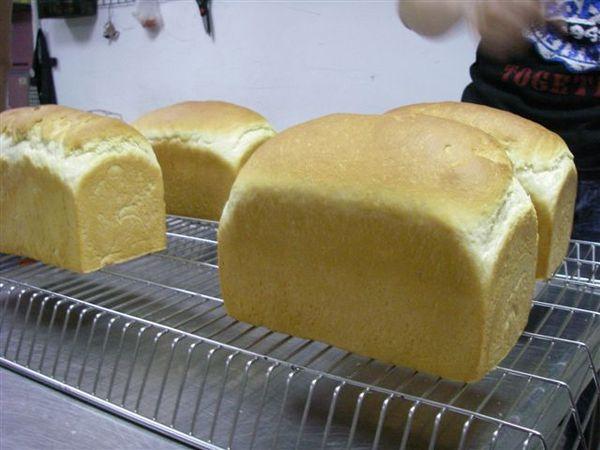 19.出爐的圓頂土司麵包,要先側身倒出,稍涼後,再直立起來放涼