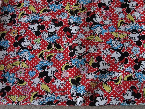 日本進口授權米奇卡通棉麻布料
