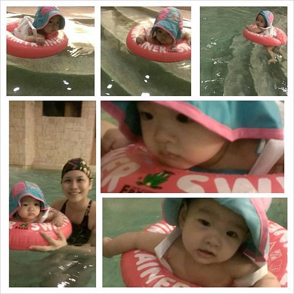 桃子第一次游泳